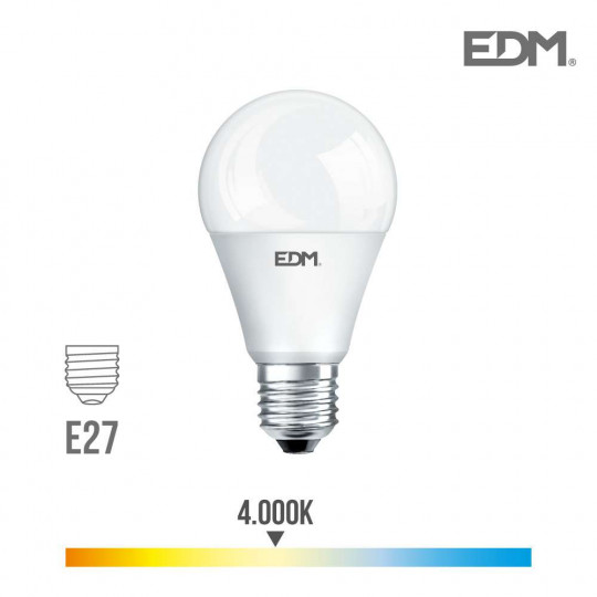 Ampoule LED E27 15W Ronde A60 équivalent à 100W - Blanc Naturel 4000K