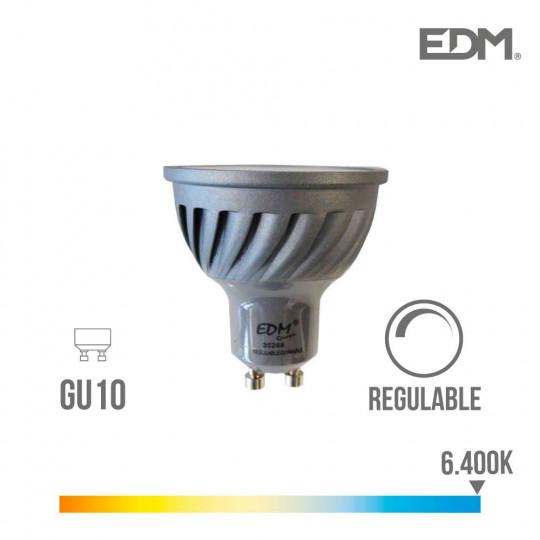 Spot LED Dimmable GU10 6W Dicroïque équivalent à 45W - Blanc du Jour 6400K