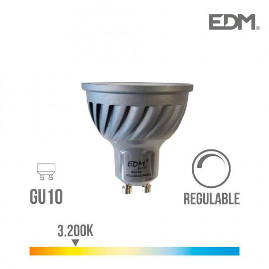 Spot LED Dimmable GU10 6W Dicroïque équivalent à 45W - Blanc Chaud 3200K