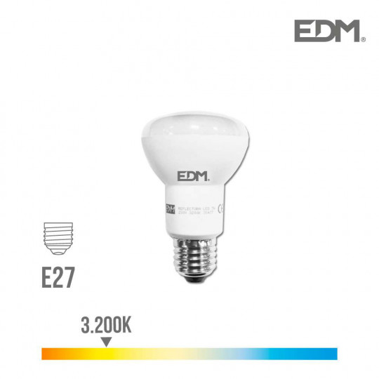 Ampoule LED E27 7W R63 équivalent à 37W - Blanc Chaud 3200K