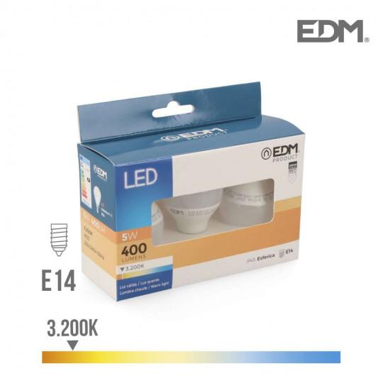 Lot de 3 Ampoules LED E14 5W équivalent à 50W - Blanc Chaud 3200K
