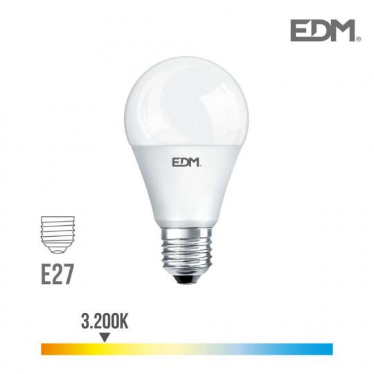Ampoule LED E27 20W Ronde A60 équivalent à 180W - Blanc Chaud 3200K
