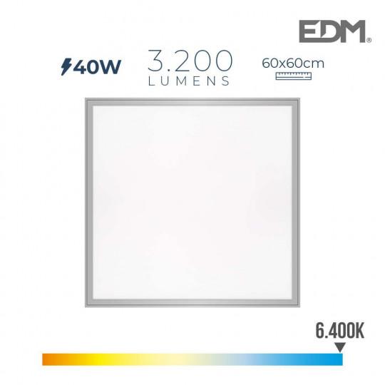 Dalle LED 40W carré 59,5x59,5mm Chrome mat - Blanc du Jour 6400K