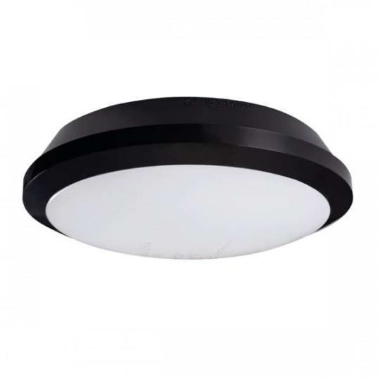 Plafonnier LED 26W à détecteur étanche IP65 rond ∅300mm Noir - Blanc Naturel 4000K