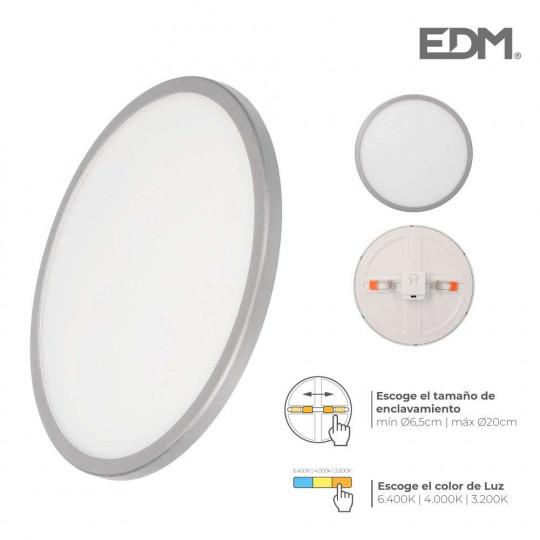 Downlight LED 20W rond ∅23cm Chromé - Blanc CCT