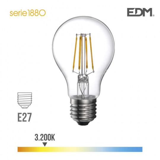 Ampoule LED E27 4W Ronde A60 équivalent à 35W - Blanc Chaud 3200K