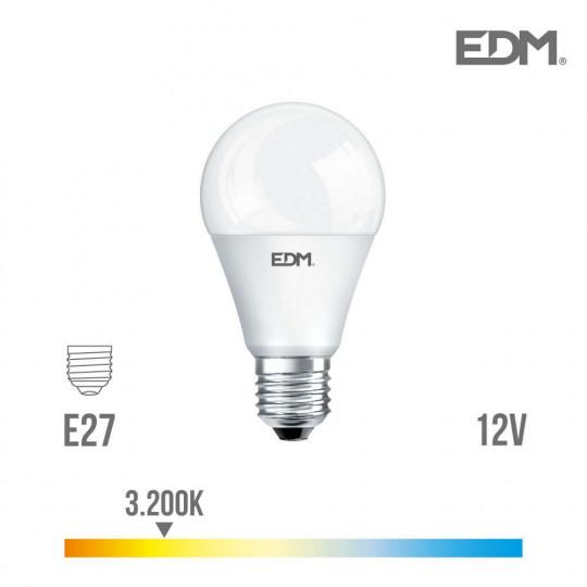 Ampoule LED E27 12V 10W Ronde A60 équivalent à 60W - Blanc Chaud 3200K