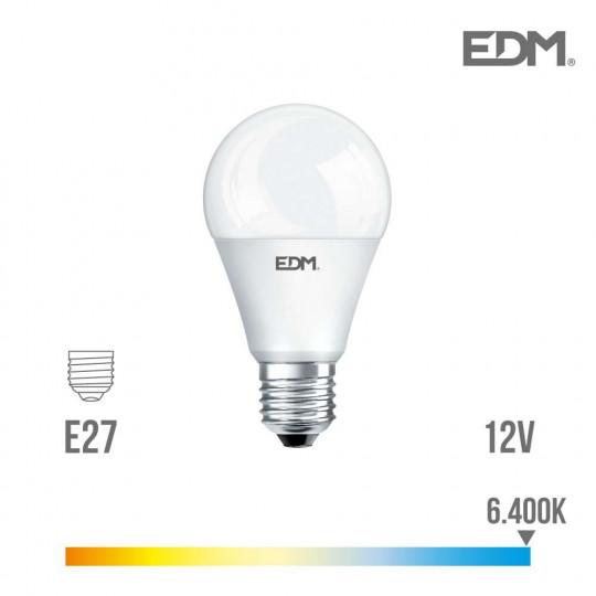 Ampoule LED E27 12V 10W Ronde A60 équivalent à 60W - Blanc du Jour 6400K