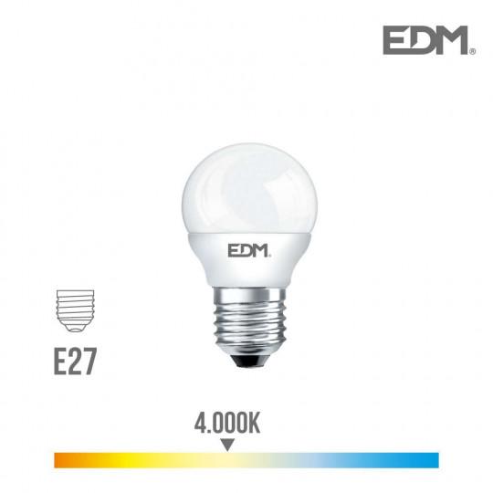 Ampoule LED E27 5W Ronde équivalent à 35W - Blanc Naturel 4000K
