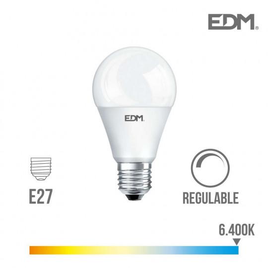 Ampoule LED Dimmable E27 10W Ronde A60 équivalent à 60W - Blanc du Jour 6400K
