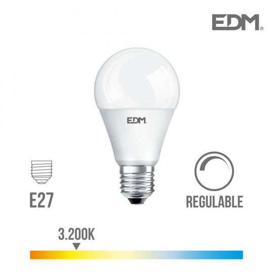 Ampoule LED Dimmable E27 10W Ronde A60 équivalent à 60W - Blanc Chaud 3200K