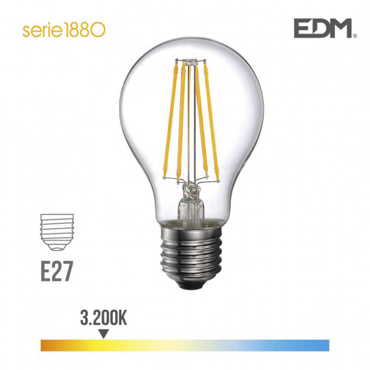 Ampoule LED E27 6W Ronde A60 équivalent à 47W - Blanc Chaud 3200K