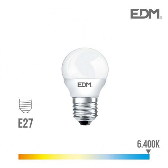 Ampoule LED E27 7W Ronde équivalent à 48W - Blanc du Jour 6400K