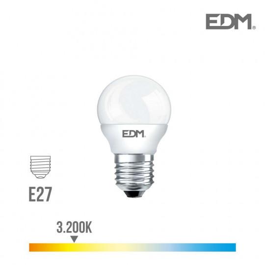 Ampoule LED E27 7W Ronde équivalent à 48W - Blanc Chaud 3200K