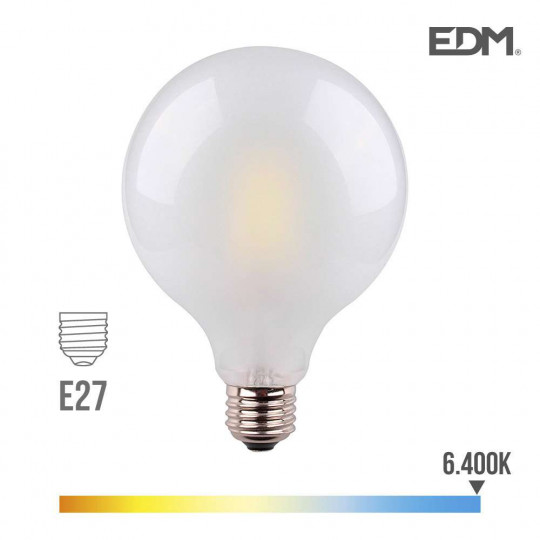Ampoule LED E27 8W Globe G125 équivalent à 80W - Blanc du Jour 6400K