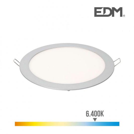 Downlight LED 20W rond ∅19,5cm Chromé - Blanc du Jour 6400K