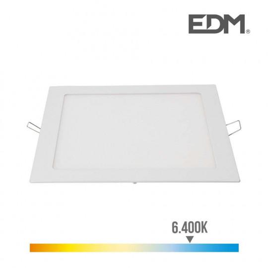Downlight LED 20W carré 22cm Blanc - Blanc du Jour 6400K
