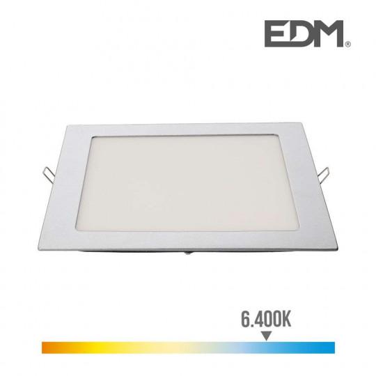 Downlight LED 20W carré 22cm Chromé - Blanc du Jour 6400K