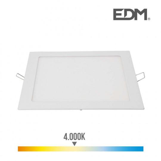 Downlight LED 20W carré 22cm Blanc - Blanc Naturel 4000K