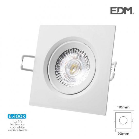 Downlight LED 5W carré 110mm Blanc - Blanc du Jour 6400K