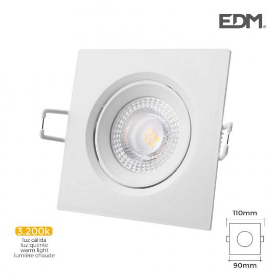 Downlight LED 5W carré 110mm Blanc - Blanc Naturel 3200K