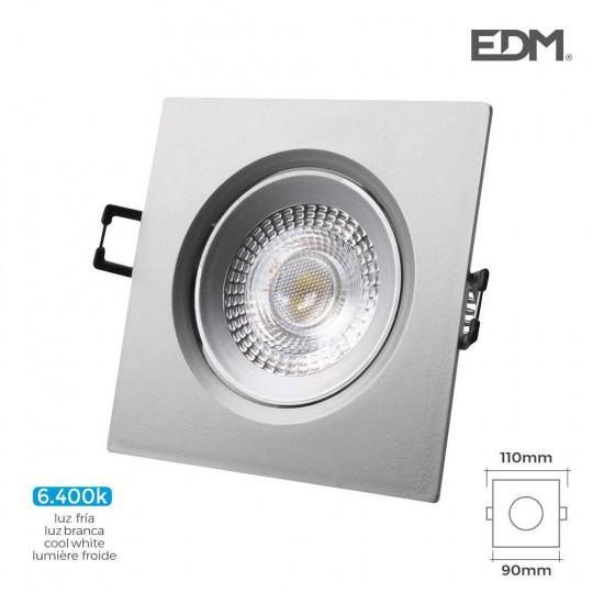 Downlight LED 5W carré 110mm Chromé - Blanc du Jour 6400K