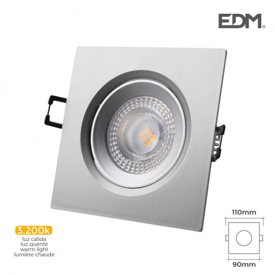 Downlight LED 5W carré 110mm Chromé - Blanc Chaud 3200K