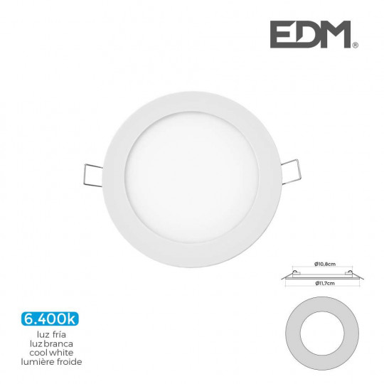 Downlight LED 6W rond ∅11,7cm Blanc - Blanc du Jour 6400K