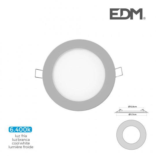 Downlight LED 6W rond ∅11,7cm Chromé - Blanc du Jour 6400K
