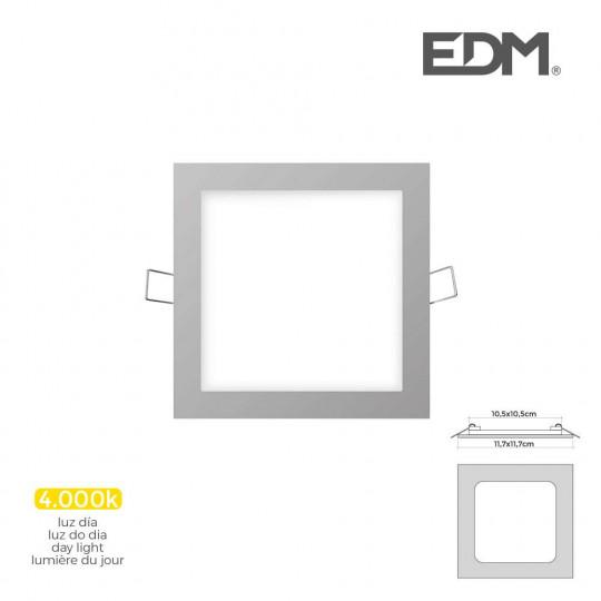 Downlight LED 6W carré 11,7cm Chromé - Blanc Naturel 4000K