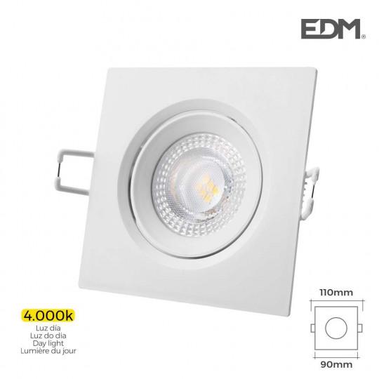 Downlight LED 5W carré 90mm Blanc - Blanc Naturel 4000K