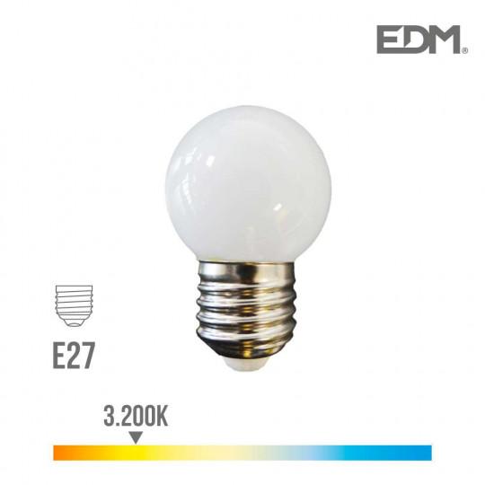 Ampoule LED E27 1,5W Ronde équivalent à 15W - Blanc Chaud 3200K
