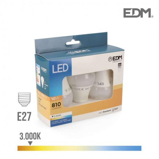Lot de 3 Ampoules LED E27 10W Ronde A60 équivalent à 60W - Blanc Chaud 3200K