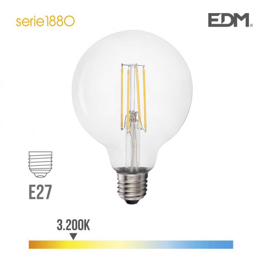 Ampoule LED E27 6W Globe G95 équivalent à 47W - Blanc Chaud 3200K