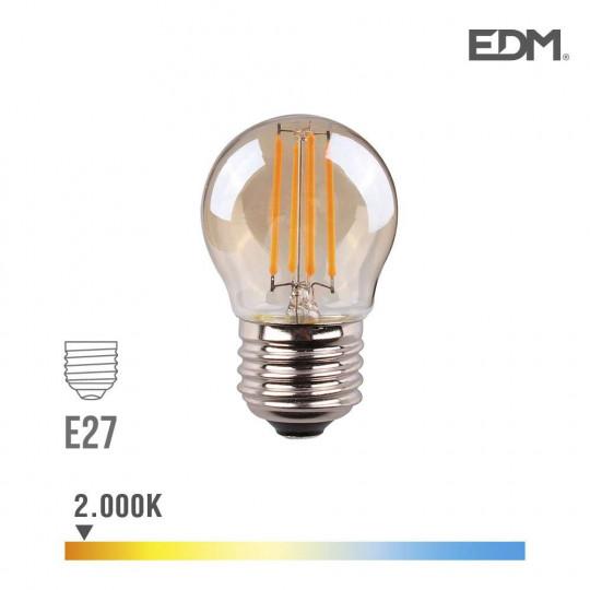 Ampoule LED E27 4,5W Ronde équivalent à 30W - Blanc Chaud 2000K