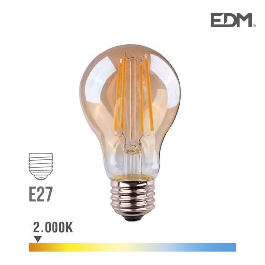 Ampoule LED E27 6W Ronde A45 équivalent à 45W - Blanc Chaud 2000K