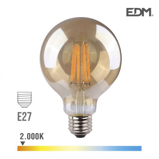 Ampoule LED E27 8W Globe G95 équivalent à 55W - Blanc Chaud 2000K