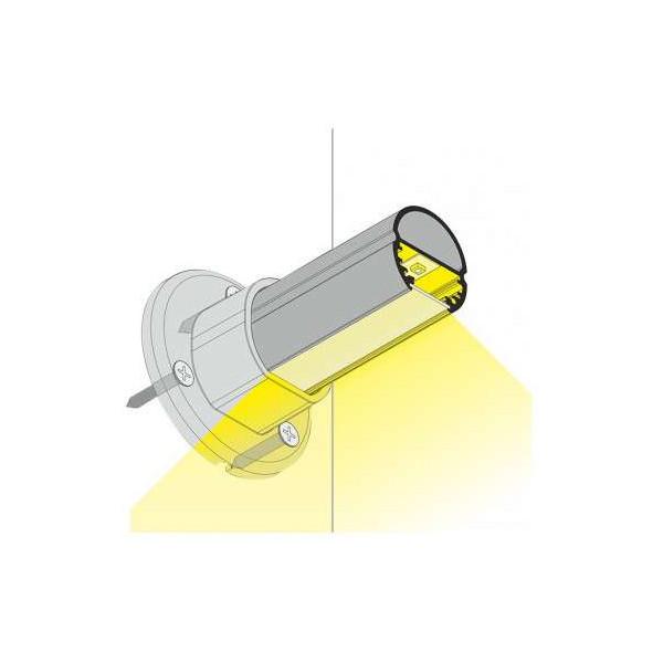 Profilé Ovale Aluminium Anodisé 2m pour Ruban LED 23mm
