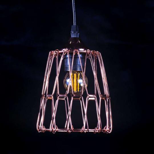 Suspension Multiformes Rose Dorée E27 Diamètre Max 235mm avec Câble 1,1m
