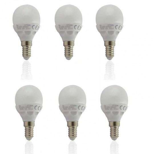 Lot de 6 Ampoules E14 LED 6W Globe Eq 40W - Blanc Chaud 2800K