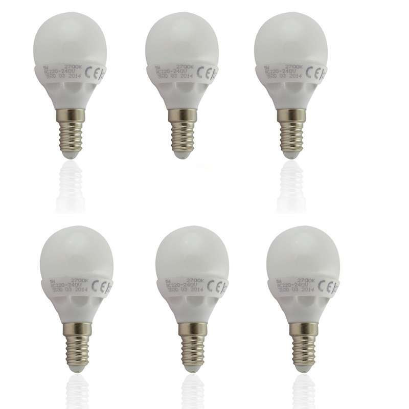 Lot de 6 Ampoules E14 LED 6W Globe Eq...