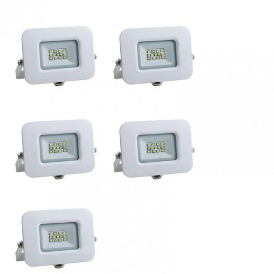 Lot de 5 Projecteurs LED 10W (60W) Blanc Premium Line IP65 850lm - Blanc Chaud 2800K