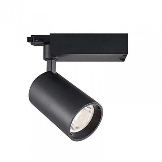 Spot LED sur Rail 35W COB Noir 24° 3850lm Triphasé - Blanc Chaud 3000K