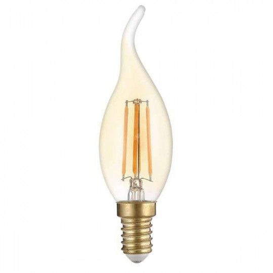 Ampoule LED C35 Flamme Coup de Vent Filament 4W Golden Glass Dimmable E14 Blanc Très Chaud 2500K