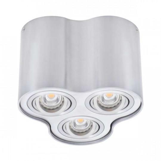Plafonnier en Saillie BORD Triple GU10 Orientable - Aluminium Brossé