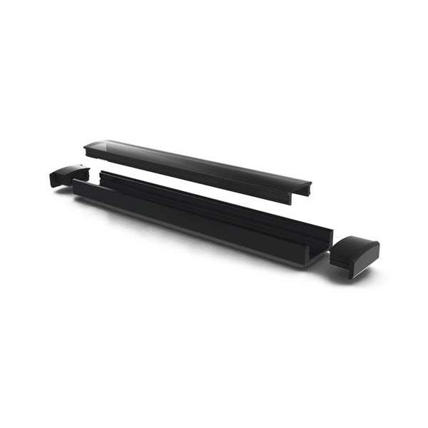 Profilé aluminium noir plat 7mm SL7 - Longueur 2m