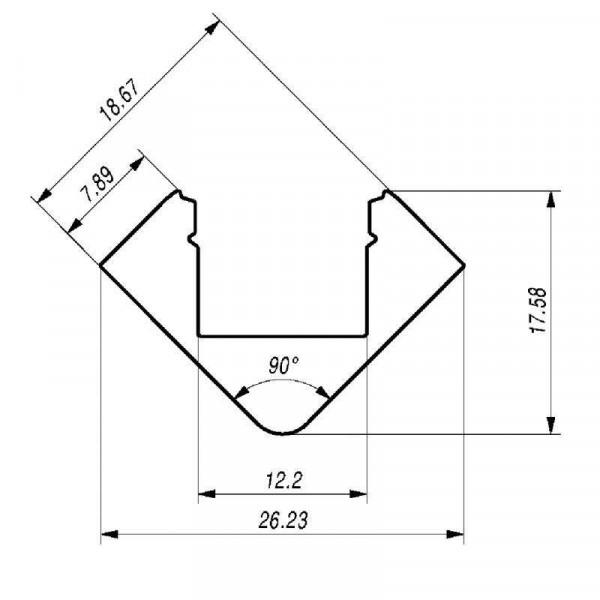 Profilé aluminium d'angle ALU-45°