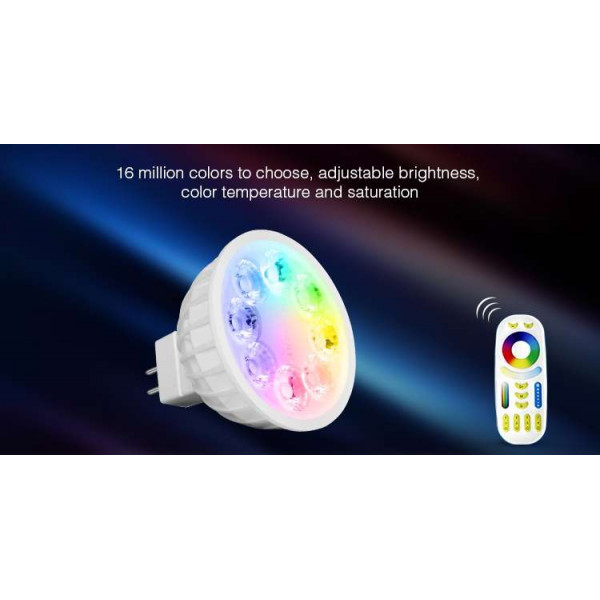 Spot LED RGB+WW-CW MR16 4W télécommande