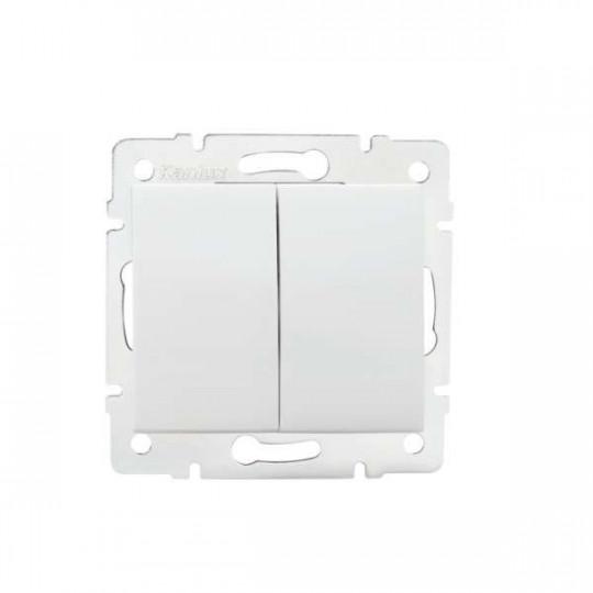 Interrupteur Encastrable Double LOGI Blanc