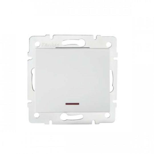 Interrupteur Encastrable Simple avec Témoin LED LOGI Blanc